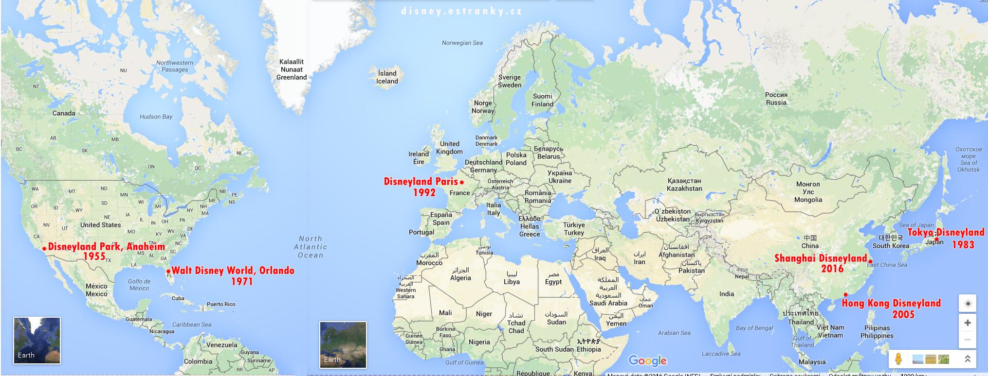 Světová mapa Disneylandů